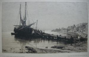 Wilhelm Unger (1837-1932) Morgenstimmung im Hafen von Ika Orig Radierung 1920