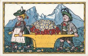 AK Alpenblumen Künstlerkarte Frz. Ios. Mayer gel 1911 Litho