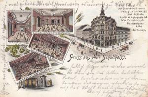 AK Berlin Bierpalast zum Schultheiss Behrenstr. Brauerei Litho gel 1894