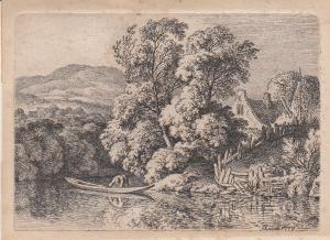 Ferdinand Kobell (1740-1799) Boot auf dem Dorfweiher Orig Radierung 1779
