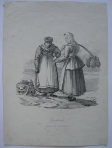 Laitieres Milchverkäuferinnen vor St. Petersburg Orig Kreidelithografie 1826
