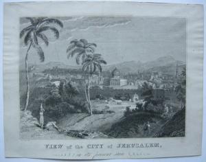 Jerusalem Gesamtansicht Orig Stahlstich T. Smith nach Craig 1850 Israel