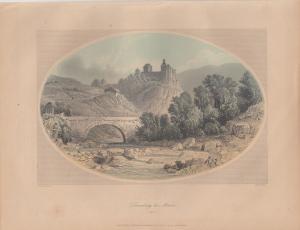 Zenoberg bei Meran Südtirol Alto Adige kolor Orig Stahlstich W. French 1850