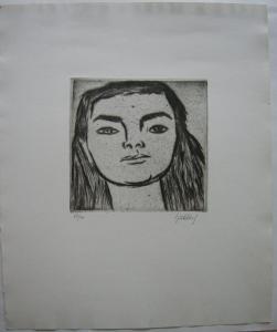 Karl Hubbuch (1891-1979) Portrait Mädchen Orig Radierung signiert 1960 Karlsruhe