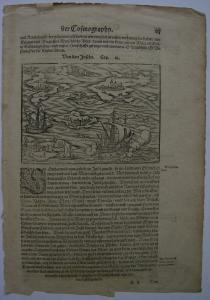Sebastian Münster Von den Inseln Delos Rhodos Sizilien Orig Holzschnitt 1580