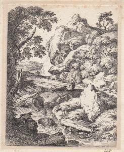 Ferdinand Kobell (1740-1799) Holzarbeiter am Gebirgsbach  Orig Radierung 1779