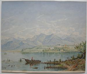 Chiemsee Herrenchiemsee Orig Aquarell monogr um 1930