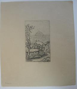 Franz Frahm-Hessler Landschaft Orig Radierung 1960 signiert