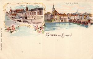AK Basel Schweiz Casino Rheinbrücke kolor Lithographie ungelaufen 1910
