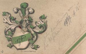 AK Studentika Real Absolvia Neuburg  Wappen Litho Stempel gel 1904