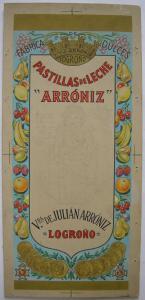 Pastillas de Leche Arroniz Logrono Entwurf Orig Gouache um 1900 Reklame Bonbons