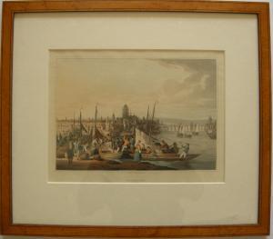 Frankfurt am Main Gesamtansicht kolor Orig Aquatinta R. Bowyer 1814 gerahmt