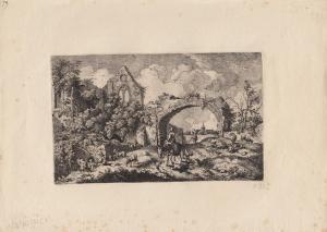 Ferdinand Kobell (1740-1799) Kirchenruinie Orig Radierung 1772