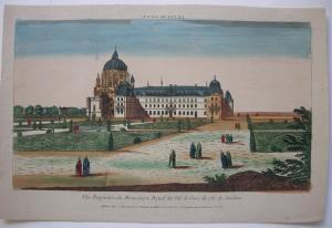 Optical view Guckkastenblatt Val de Grace Paris France Orig Kupferstich 1750