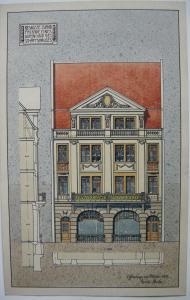 Offenburg Entwurf Geschäftshaus Orig Farbzeichnung 1909 signiert Jugendstil