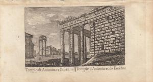 Tempio di Antonino e Faustina Roma Italia Orig Kupferstich Vasi 1816