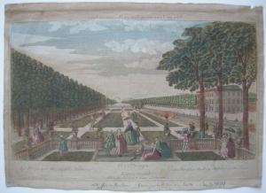 Optical view Guckkastenblatt Dresden Großer Garten Orig Kupferstich 1770
