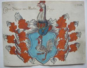 Wappen Blarer von Wartensee (1542-1608) Fürstbischof Basel Orig Gouache 1600