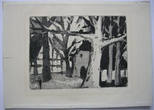 Solveg Börnsen (XX) Häuser im Wald Orig Aquatinta 1955 Das Quadrat Cuxhaven