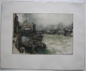 Luigi Kasimir (1881-1962) Hamburger Hafen Orig Farbradierung 1928 signiert