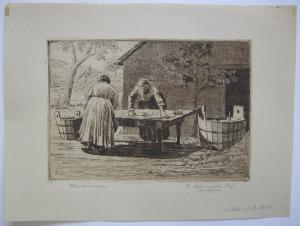 Rudolf Ostermayer (1905- ?) Wäscherinnen Orig Radierung 1960 signiert