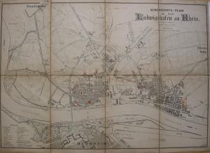 Ludwigshafen Übersichtsplan Stadtplan Orig Stahlstich 1891 Rheinland-Pfalz