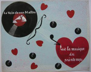 Kor Postma (1903-1977) Entwurf Plattencover Orig Gouache 1960 Musique printemps