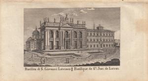 Basilica di S. Giovanni Laterano Roma Italia Orig Kupferstich Vasi 1816