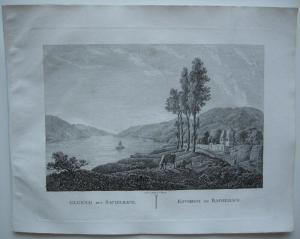 Bacherach Bingen Rhein Orig Kupferstich J. Roux 1822 Rheinland Pfalz