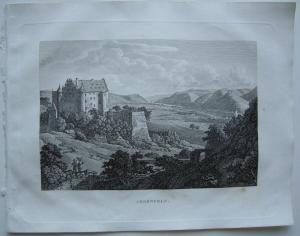 Argenfels Bad Hönningen Rhein Orig Kupferstich J. Roux 1822 Rheinland Pfalz