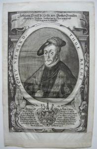 Johann Ernst I. (1521-1553) Herzog Sachsen Markgra Meissen Orig Kupferstich 1700