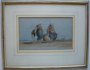 Charles Cooper Henderson (1803-1877) Fischerinnen am Strand Orig Aquarell 1850