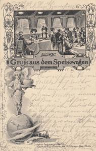 AK Gruß aus dem Speisewagen Eisenbahn gel 1904 Gastronomie