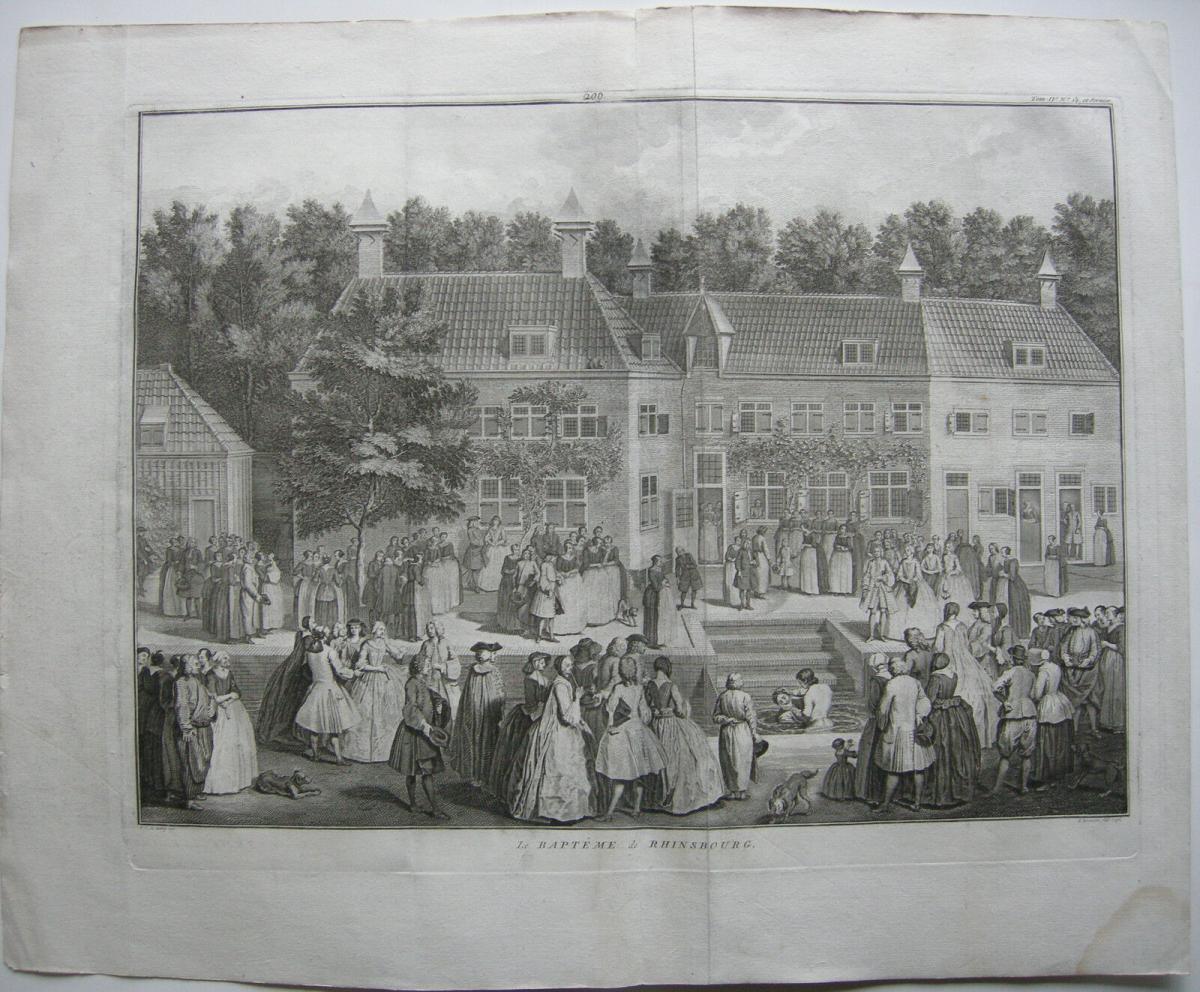 Baptisten Taufe Rijnsberg Niederlande Orig Kupferstich Bernaerts 1736