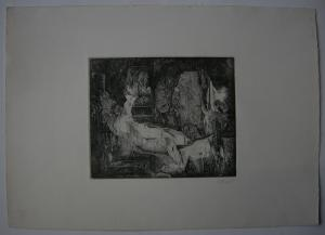 Udo Scheel (1940) Interieur Orig Radierung 1972 signiert