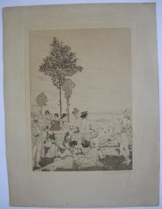 Rolf Schott (1892-1977) Renaissance Fest vor weiter Landschaft signiert um 1930