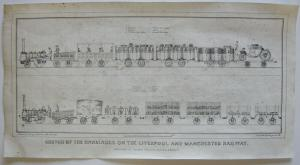 Carriages Liverpool Manchester Railway Orig. Lithografie Henry Austen 1832