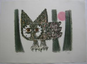 Celestino Piatti (1922-2007) Eule im Wald Orig Farblithografie signiert 42/50
