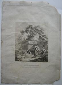 Abendvergnügen der Tiroler Orig. Aquatinta-Radierung  C. Apostool 1792 Tirol