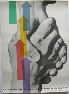 Orig Plakat Cooperation inter-europenne Gottfried Honegger-Lavater 1947 Offset
