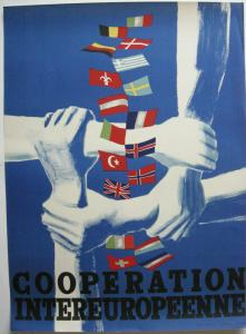 Orig Plakat Cooperation intereuropenne Fabien Vienne 1947 Offset