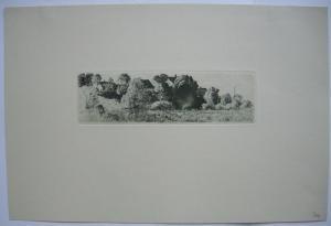 Sion Longley Wenban (1848-1897) München Föhring Häuser am Hang Radierung 1894