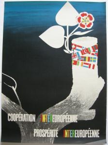 Orig Plakat Cooperation Prosperité intereuropenne 1947 Offset