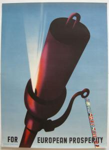 Orig Plakat For European Prosperity Wladimir Flem 1947 Offset