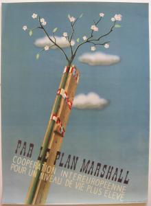 Orig Plakat Par le Plan Marshall Gaston van den Eynde 1947 Offset
