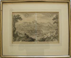 Marburg Hessen Gesamtansicht Matthaeus Merian 1650 Orig Kupferstich gerahmt