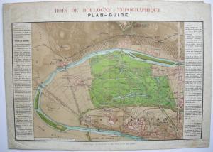 Plan-Guide de Bois de Boulogne Paris Orig Lithografie 1861