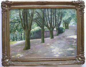 Adolf Beyer (1869-1953) Lichtdurchflutete Baumallee Öl/Leinwand signiert 1920