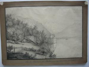 Chateau Chillon Montreux Genfer See Schweiz Orig Federzeichnung Desvernnois 1820