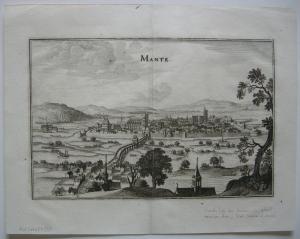 Mantes-la-Jolie Ile-de-France Gesamtansicht M. Merian 1646 Orig Kupferstich